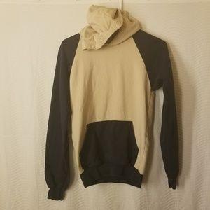 Vintage style tan navy blue hoodie sweatshirt x LL
